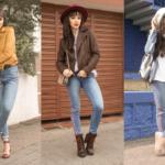 Três looks usando a mesma calça jeans!